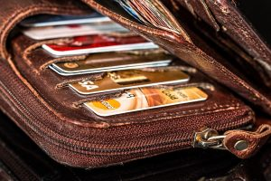 Picture of a wallet with credit cards.